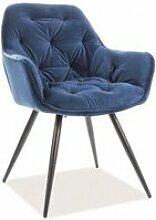 Chairs-Chaise capitonnée tissu et pieds métal