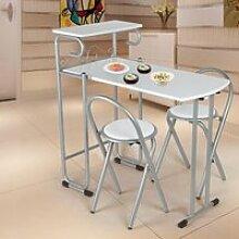Chaise 3pcs table pliante chaises ensemble
