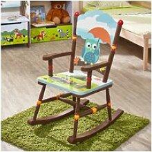 Chaise à bascule en bois pour décor chambre