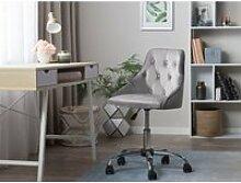 Chaise à roulettes en velours gris parrish 135488
