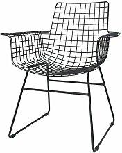 Chaise Altorf en fil métallique noir avec