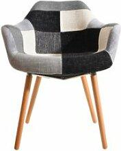 Chaise anssen patchwork grise