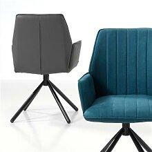 Chaise anthracite pivotante moderne KOOK (lot de 2)