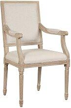Chaise avec accoudoirs AMBOISE - Tissu & Bois de