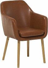 Chaise avec accoudoirs en simili cuir marron