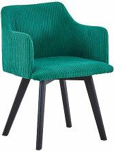 Chaise avec accoudoirs velours vert Sandy
