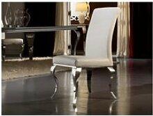 Chaise   baroque acier blanche
