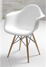 Chaise blanche scandinave avec accoudoirs ELI 2