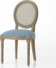 Chaise bleu foncé en acajou médaillon - Amadeus