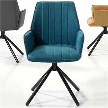 Chaise bleue pivotante moderne KOOK (lot de 2)