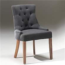 Chaise capitonnée en tissu sable, taupe ou gris