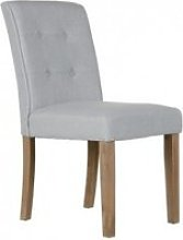 Chaise capitonnée tissu gris clair mitel