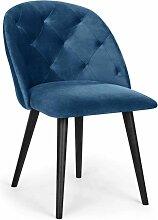 Chaise capitonnée velours bleu Rine