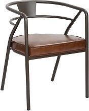 Chaise confort aspect cuir marron