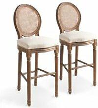 Chaise de bar 2 pcs Lin Rotin 48 x 52 x 123 cm