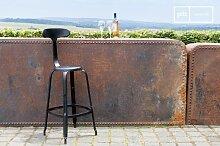 Chaise de bar à rivets grise
