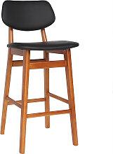 Chaise de bar design bois de noyer et noir 65 cm
