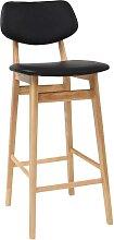 Chaise de bar design noir et bois naturel 65 cm