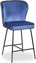 Chaise de bar Elsa Velours Bleu - Bleu