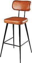 Chaise de bar en cuir de chèvre marron et métal