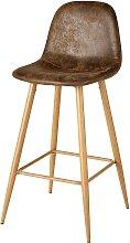 Chaise de bar en microsuède marron vieilli