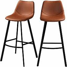 Chaise de bar Falko marron 80 cm (lot de 2) -