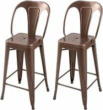 Chaise de bar indus cuivre 66 cm (lot de 2)