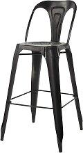 Chaise de bar indus en métal noire