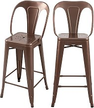 Chaise de bar mi-hauteur Indus cuivre 66 cm (lot
