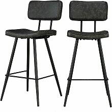 Chaise de bar mi-hauteur Texas grise/noire 65 cm