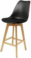 Chaise de bar - pieds en bois - noir