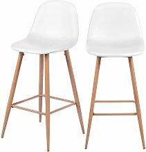 Chaise de bar Rodrik blanche 73 cm (lot de 2) -