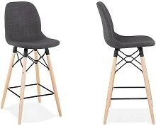 Chaise de bar scandinave en tissu gris foncé -