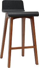 Chaise de bar scandinave noir et bois foncé H65