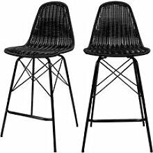 Chaise de bar tiptur en résine tressée noire
