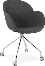 Chaise de bureau 'KEV' en tissu gris