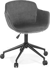 Chaise de bureau 'ROLLING' en velours gris