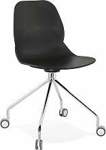 Chaise de bureau a roulettes assise noir pied