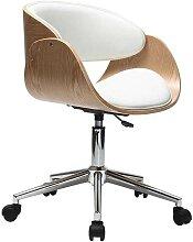 Chaise de bureau à roulettes blanc et bois clair