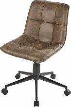 Chaise de bureau à roulettes matelassée marron