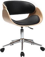 Chaise de bureau à roulettes noir et bois clair