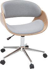 Chaise de bureau à roulettes tissu gris et bois