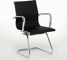 Chaise de Bureau avec Accoudoirs Romy Acier - Noir
