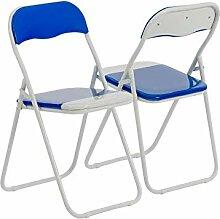 Chaise de bureau bleu/blanc, pliable et