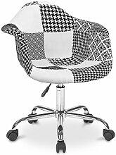 Chaise de bureau Darwick blanche et noire -
