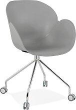 Chaise de bureau design 'JEFF' grise sur