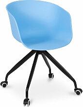 Chaise de bureau design avec roues Bleu
