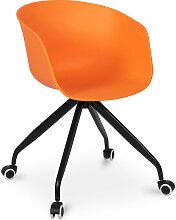 Chaise de bureau design avec roues Orange