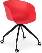 Chaise de bureau design avec roues Rouge
