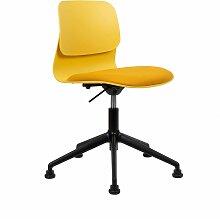 Chaise de bureau design jaune pivotante sur